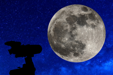 billions: Silhouette of Telescope under the stars and Full moon.