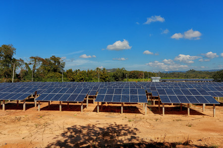 nonpolluting: Solar cells on a big field