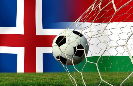 slow motion: ( Football )  Island and Hungar Stock Photo