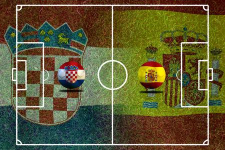 slow motion: ( Football )  Croatia and Span.
