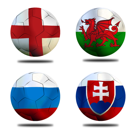 ( Football )  England,  Slovakia,  Welsh and Russia