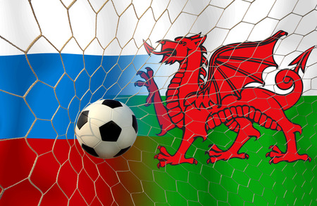 slow motion: Soccer ( Football )  Russia  and Welsh
