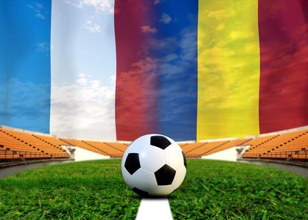 slow motion: ( Football )  France and Romania Stock Photo