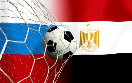 Fußball (Fußball) -Wettbewerb zwischen dem nationalen Russland und dem nationalen Ägypten. 2018