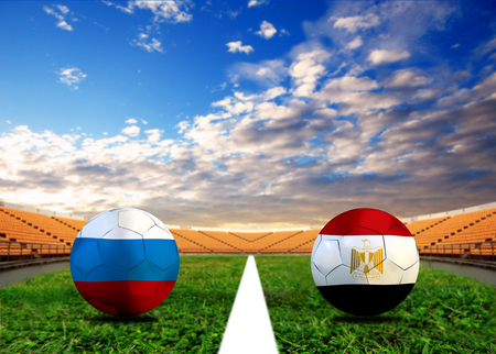 Soccer ( Football ) competition between the national Russia and national Egypt. 2018