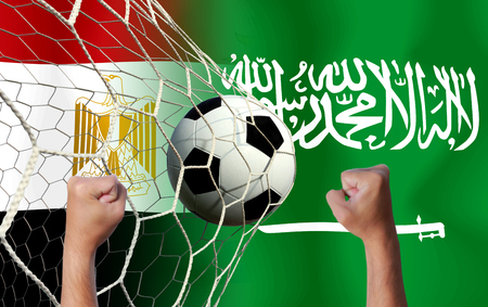 Blur handful cheer of Football Cup competition between the national Egypt and national Saudi Arabia. Stock Photo