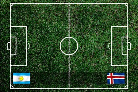 Football Cup competition between the national Argentine and national Island. Standard-Bild - 103455947