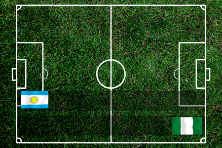 Football Cup competition between the national Argentine and national Nigeria. Standard-Bild - 103455950