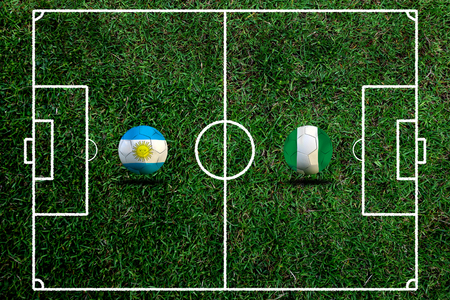Football Cup competition between the national Argentine and national Nigeria. Standard-Bild - 103455951