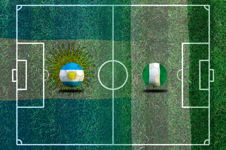 Football Cup competition between the national Argentine and national Nigeria. Standard-Bild - 103455952