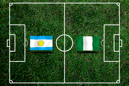 Football Cup competition between the national Argentine and national Nigeria. Standard-Bild - 103455953