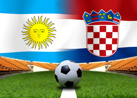 Football Cup competition between the national Argentine and national Croatia. Standard-Bild - 103455747
