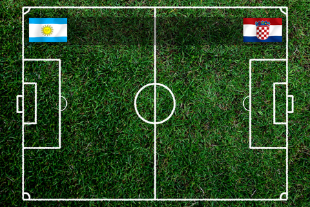 Football Cup competition between the national Argentine and national Croatia. Standard-Bild - 103455755