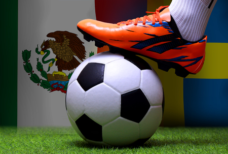 close up legs and feet of soccer player or football player walk on green grass ready to play match on national  Mexico and national Sweden. Standard-Bild - 103270053