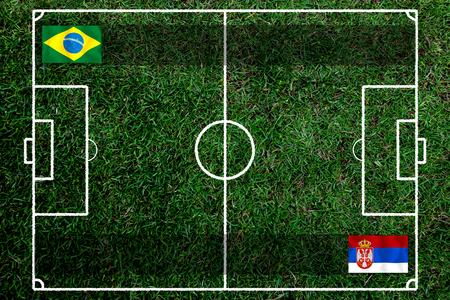 Football Cup competition between the national Brazil and national Switzerland. Standard-Bild - 103270060