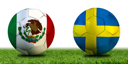 Football Cup competition between the national Mexico and national Sweden. Standard-Bild - 103270101