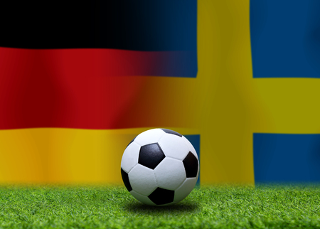 Football Cup competition between the national German and national Sweden. Standard-Bild - 103270103