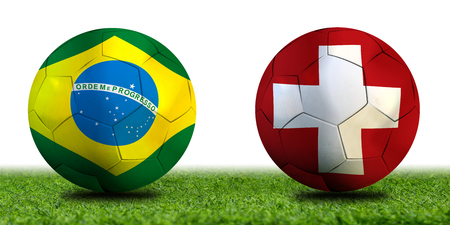 Football Cup competition between the national Brazil and national Switzerland. Standard-Bild - 103270104