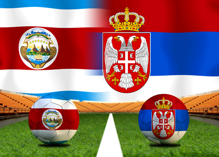 Football Cup competition between the national Costa Rica and national Serbia. Standard-Bild - 103270106