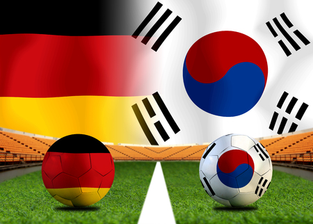 Football Cup competition between the national German and national South Korea. Standard-Bild - 103270107