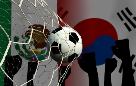 Football Cup competition between the national Mexico and national South Korea. Standard-Bild - 103270113