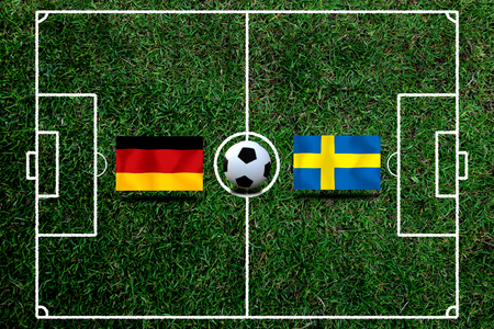 Football Cup competition between the national German and national Sweden. Standard-Bild - 103270109