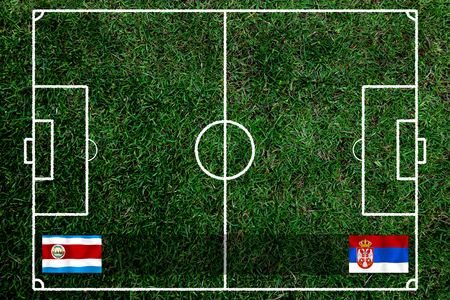 Football Cup competition between the national Costa Rica and national Serbia. Standard-Bild - 103270111