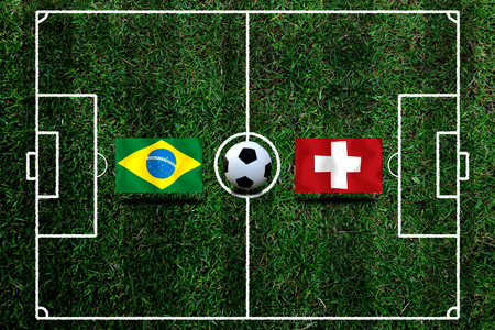 Football Cup competition between the national Brazil and national Switzerland. Standard-Bild - 103270116
