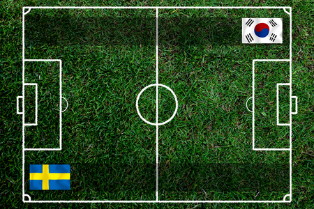 Football Cup competition between the national South Korea and national Sweden. Standard-Bild - 103270114