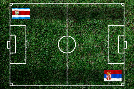 Football Cup competition between the national Costa Rica and national Serbia. Standard-Bild - 103270120