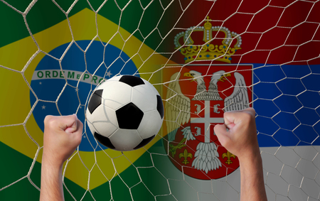 Football Cup competition between the national Brazil and national Serbia. Standard-Bild - 103270121