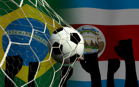 Football Cup competition between the national Brazil and national Costa Rica. Standard-Bild - 103270164