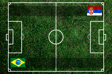 Football Cup competition between the national Brazil and national Switzerland. Standard-Bild - 103270162