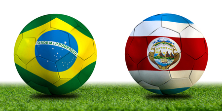 Football Cup competition between the national Brazil and national Costa Rica. Standard-Bild - 103270163