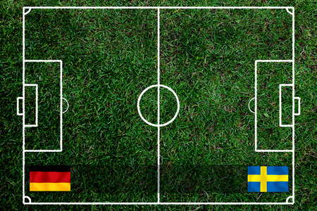 Football Cup competition between the national German and national Sweden. Standard-Bild - 103270168