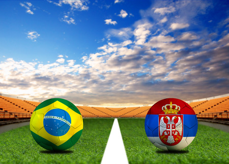 Football Cup competition between the national Brazil and national Serbia. Standard-Bild - 103270171