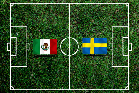 Football Cup competition between the national Mexico and national Sweden. Standard-Bild - 103270170
