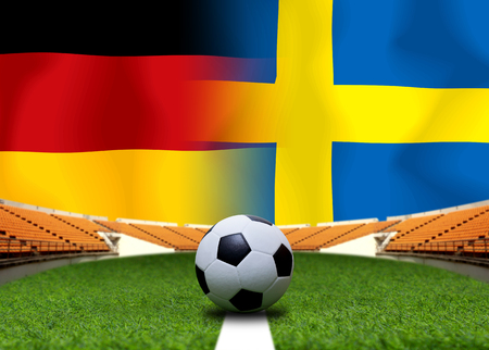 Football Cup competition between the national German and national Sweden. Standard-Bild - 103270167
