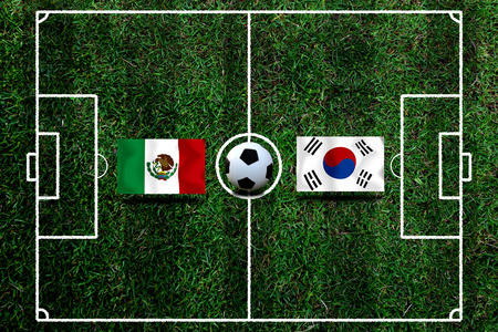 Football Cup competition between the national Mexico and national South Korea. Standard-Bild - 103270166