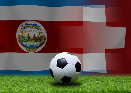 Football Cup competition between the national Costa Rica and national Switzerland. Standard-Bild - 103270177