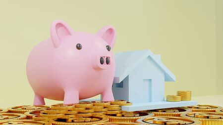 Business loans for real estate concept, a Pink piggy bank with dollar coins.saving money and. work from home to avoid viruses corona virus COVID-19. 3d rendering.