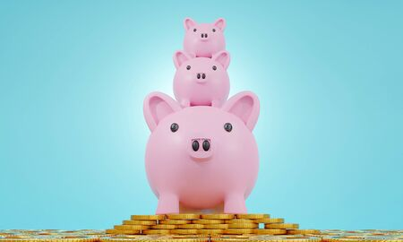 Business loans for real estate concept, a Pink piggy bank with dollar coins.saving money and work from home to avoid viruses corona virus COVID-19. 3d rendering.