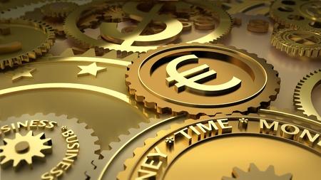 zeitarbeit: Uhrwerk aus der W�hrungs-M�nzen gemacht: dolar, euro. W�hrung Abh�ngigkeit