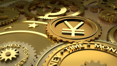 yen sign: Time is money. Yen currency highlights. Stock Photo