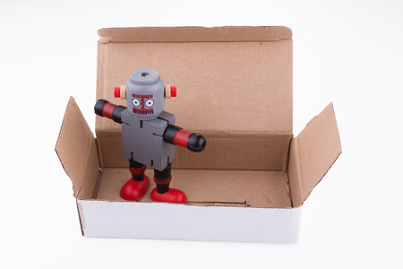 bionic: Robot in cardboard box
