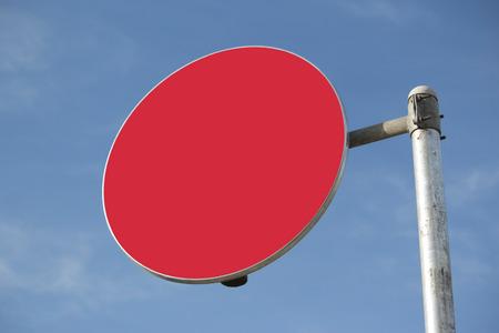 short phrase: Blank Red Traffic Sign