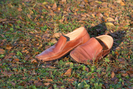 old shoes: Old shoes in fall