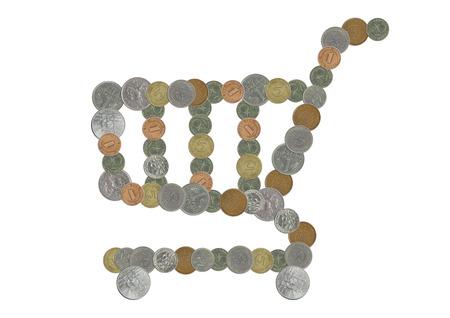 monedas antiguas: carro de compras con las monedas viejas Foto de archivo