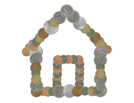 hypothec: house with old coins Stock Photo