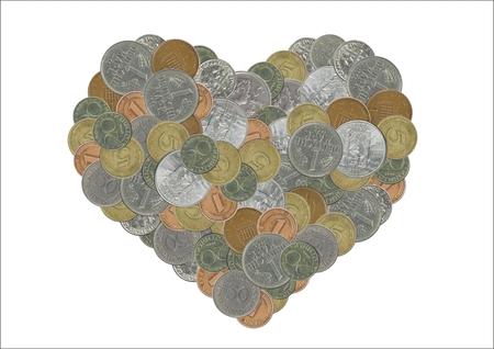 monete antiche: cuore con le vecchie monete Archivio Fotografico